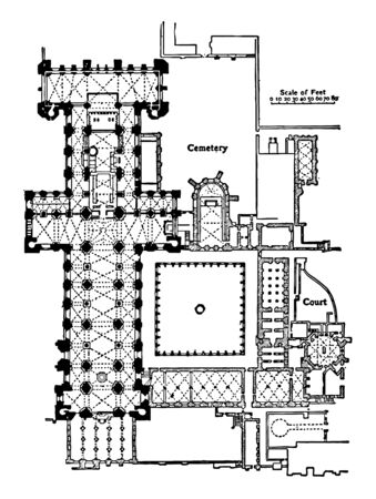 Plan of Durham Cathedral 1093–1133 an example of English Gothic architecture square eastern termination the less ambitious height the comparatively simple buttress–system vintage line drawing or engraving illustration. Illustration