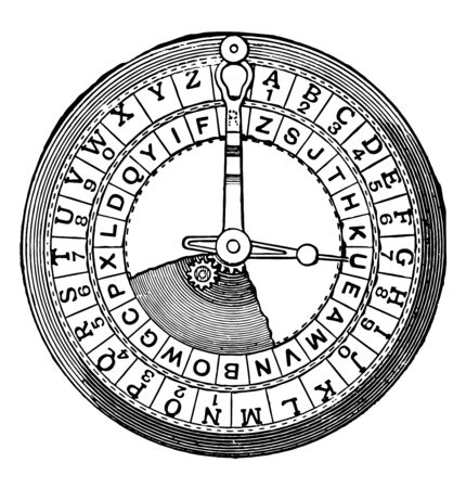 Cipher is an algorithm for performing encryption or decryption it is less common term is encipherment vintage line drawing or engraving illustration.