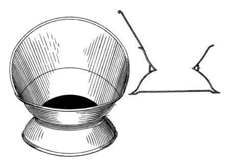 The Design for a Cuspidor is a receptacle made for spitting its users of chewing and dipping tobacco vintage line drawing or engraving illustration. Ilustração