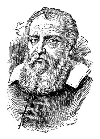 Galileo Galilei 1564 to 1642 he was an Italian polymath astronomer physicist engineer philosopher and mathematician who was one of the great creators of experimental science vintage line drawing or engraving illustration