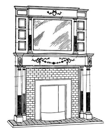 Medium Brickwork Mantel are general term for the jambs, mantel shelf, and external accessories , vintage line drawing or engraving illustration. Ilustração