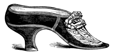 Shoe was used by the late Duchess of York, vintage line drawing or engraving illustration.