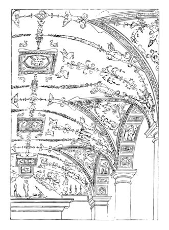 Painted Vault of the Florentine Palace in Rome painted vault Renaissance architecture vintage line drawing or engraving illustration. Reklamní fotografie - 132981499