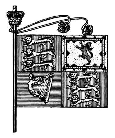 The Royal Standard is a flag of Great Britain, it is divided into four quadrants, lower left has the harp, left top has 3 lions, right top has lion verticle lion figure, lower right has 3 lions, vintage line drawing or engraving illustration