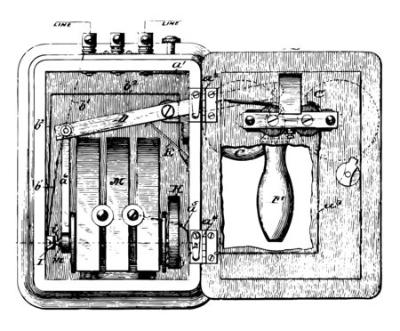 This illustration represents Placing a Phone Call, vintage line drawing or engraving illustration.