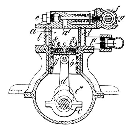 This illustration represents work function of Steam Engine vintage line drawing or engraving illustration.