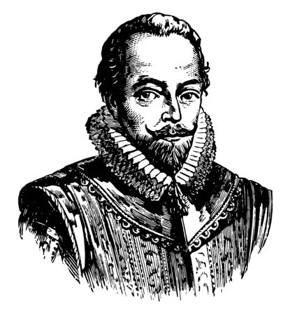 Sir Walter Raleigh 1554 to 1618 he was an English writer poet soldier politician courtier spy and explorer vintage line drawing or engraving illustration Foto de archivo - 133478265