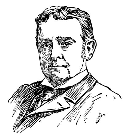 Joseph Hodges Choate 1832 to 1917 he was an American lawyer diplomat and United States Ambassador to the United Kingdom vintage line drawing or engraving illustration 向量圖像