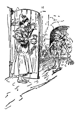 A girl carrying jug and table at door and looking at an elf fireplace in background vintage line drawing or engraving illustration