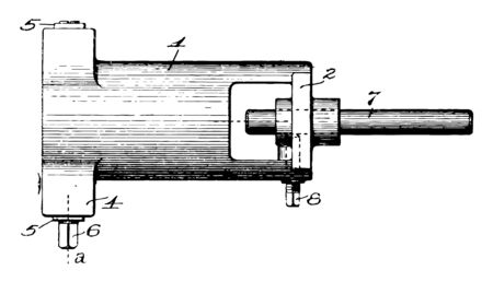 This illustration represents function of Lathe vintage line drawing or engraving illustration.