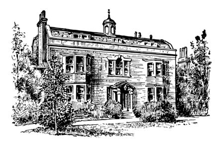 The image portrays the home of Charles Dickens in Gadshill. The home has a beautiful pinnacle. The front wall of the building has four windows and big doors vintage line drawing or engraving illustration.