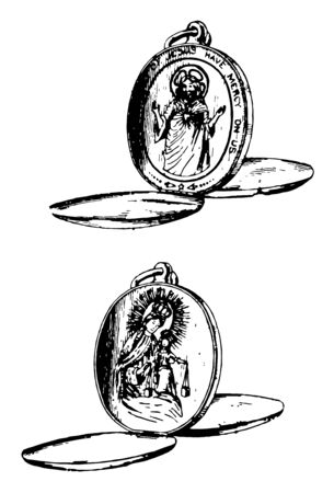 Pop Up Locket is a small ornamental case vintage line drawing or engraving illustration. 版權商用圖片 - 133004241