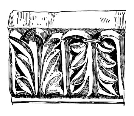 Anthemion or Acanthus Byzantium Repeating Pattern Ornament representing stylized vintage line drawing or engraving illustration.
