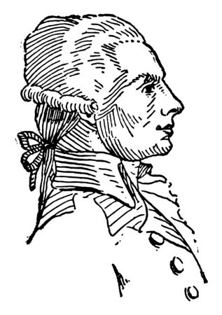 Robespierre 1758 to 1794 he was a French lawyer politician and one of the most influential figures associated with the French Revolution vintage line drawing or engraving illustration Ilustração