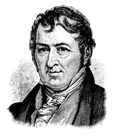 Eli Whitney Jr. 1765 to 1825 he was an American inventor famous for inventing the cotton gin vintage line drawing or engraving illustration