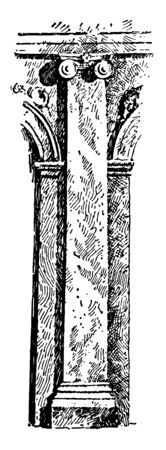 Pilaster is square pillar with its capital, a rectangular column, especially one projecting from a wall, vintage line drawing or engraving illustration.