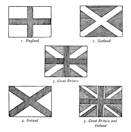 The Union Jack it has five flags England with cross Scotland with Saltire Great Britain with cross and saltire Ireland with Saltire and Great Britain and Irland with saltire and corss superimposed on it vintage line drawing or engraving illustration  イラスト・ベクター素材