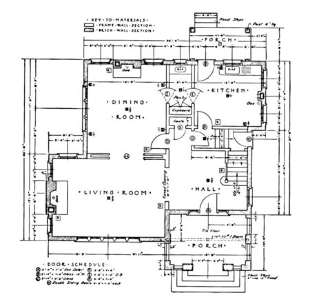 First Floor Residence Plan of a typical residence its symbols commonly used in drafting vintage line drawing or engraving.