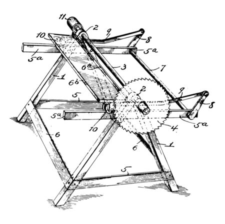 This illustration represents Machine Saw which used for cutting wood vintage line drawing or engraving illustration.