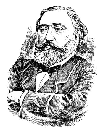 Leon Gambetta 1838 to 1882 he was a French statesman and 45th prime minister of France famous for his devotion to republican principals vintage line drawing or engraving illustration