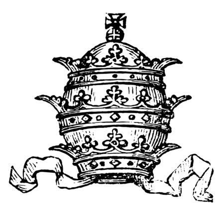 Tiara have a Popes mitre with its triple crown, vintage line drawing or engraving illustration.