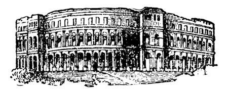 Pola Amphitheater Mehrere antike Tore sind auch noch vorhanden, das einzige verbleibende römische Amphitheater, das am besten erhaltene antike Denkmal in Kroatien Vintage-Linien-Zeichnung oder Gravierillustration.