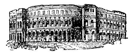Pola Amphitheater several ancient gates are also extant only remaining Roman amphitheatre best preserved ancient monument in Croatia vintage line drawing or engraving illustration. 矢量图像