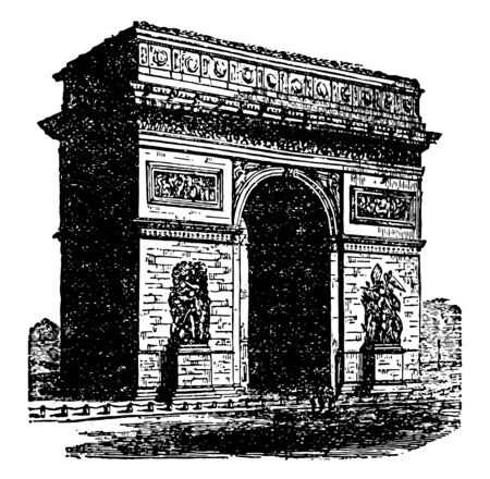 Arch of Triumph is the shape of a monumental archway building gates walls sizes vintage line drawing or engraving illustration