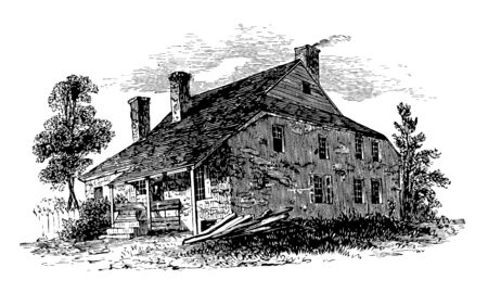 During the Revolutionary War George Washington establish headquarter at Newburg vintage line drawing or engraving illustration.