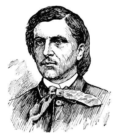 William Barker Cushing 1842 to 1874 he was an officer in the United States navy famous for sinking the Confederate ironclad CSS Albemarle during a daring night to time raid on October 27 1864 vintage line drawing or engraving illustration