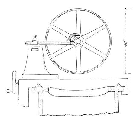 This illustration represents Pulley Cutting Tool, vintage line drawing or engraving illustration. Çizim