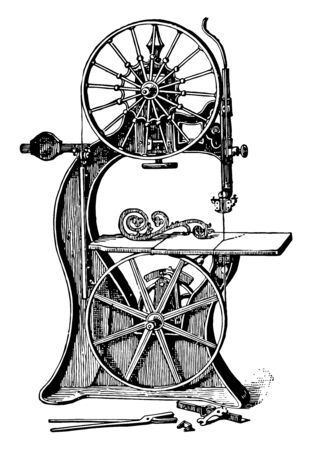 This illustration represents Band Saw which give a continous uniform motion vintage line drawing or engraving illustration.