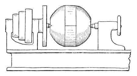 This illustration represents how to create a centrifugal governor ball rotating the lathe, vintage line drawing or engraving illustration. Illustration