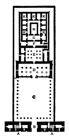 Plan of the Temple of Edfu 2134–1999 BC Egypt Egyptian–style architecture architectural features entrance door Great Court Hall of Columns Second Hal vintage line drawing or engraving illustration.