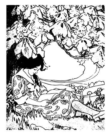 Girl Reading book children little interesting vintage line drawing or engraving illustration. Stock fotó - 132803326