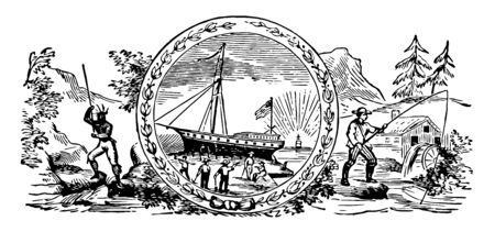 The seal of colonial New Hampshire in 1629 this seal has a man with spear in left side center part covered with ship on harbor and few workers sea right side a fisherman mountain trees and house vintage line drawing or engraving illustration