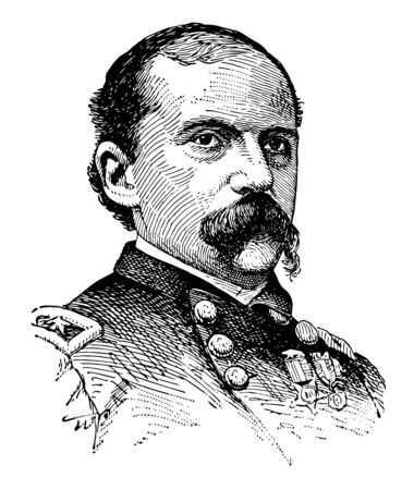 Edward M. McCook 1833 to 1909 he was a lawyer politician distinguished union cavalry general in the American civil war and governor of the territory of Colorado vintage line drawing or engraving illustration Çizim