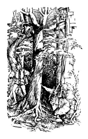 Rapunzel this scene shows a girl standing in the window and witch climbing wall to reach at girl in the window another man standing behind tree looking at him vintage line drawing or engraving illustration Stock Illustratie