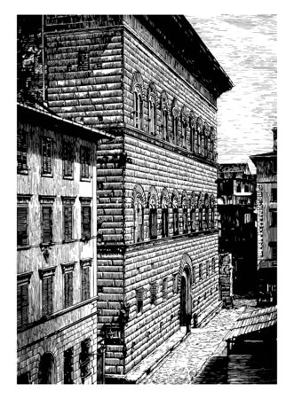 Strozzi Palace at Florence the back of the Strozzi Place dressed blocks with a less decided projection more elegant appearance vintage line drawing or engraving illustration.