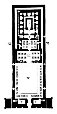 Ground Plan of Edfou, Edfou once had a second propylon, Ground-plan of Luxor An inspection, avenue of sphinxes, vintage line drawing or engraving illustration.