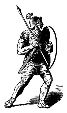 A Roman Soldier, or Legionary, with a Short Javelin and Shield, vintage line drawing or engraving illustration.