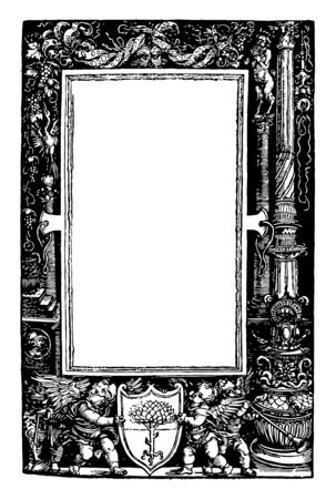 Decorative Border comprised of a pillar on each side of the border it have two angels holding a shield of a tree on the bottom vintage line drawing or engraving illustration. 向量圖像