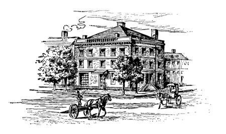 In 1789 George Washington lived on Cherry Street New York in a four to story mansion. This house served as the first Executive Mansion of the President of the United States vintage line drawing or engraving illustration.