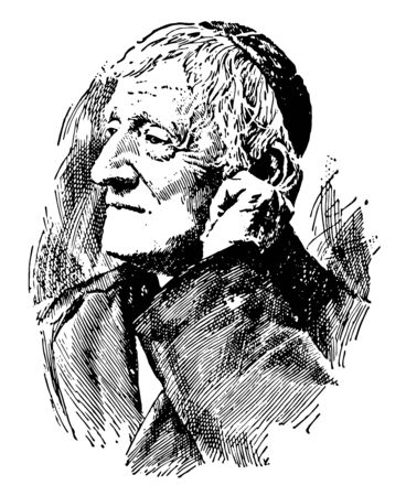 Cardinal John Henry Newman 1801 to 1890 he was an Anglican priest poet and theologian and catholic cardinal vintage line drawing or engraving illustration