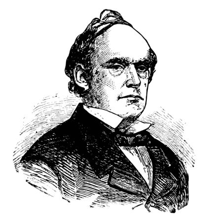 Salmon Portland Chase 1808 to 1873 he was an American politician jurist chief Justice of the United States governor of Ohio vintage line drawing or engraving illustration
