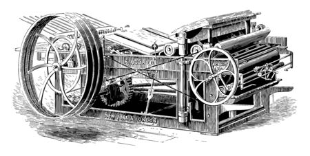 This illustration represents function of Adams Platen Printing Press vintage line drawing or engraving illustration.