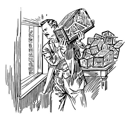 This illustration represents Burroughs who lived near a hill or a fort vintage line drawing or engraving illustration.