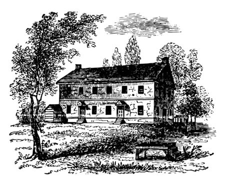 It is the house of New Jersey where used to be friends meeting vintage line drawing or engraving illustration. Archivio Fotografico - 132802951