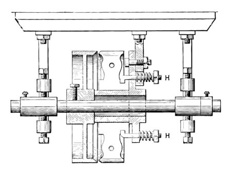 This illustration represents Loose Driving Pulley which is pressed aside by the spiral springs on the bolts, vintage line drawing or engraving illustration Çizim