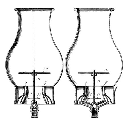 This illustration represents Gas Burner which is a device to generate a flame to heat up, vintage line drawing or engraving illustration.  イラスト・ベクター素材